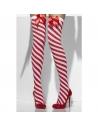 Bas opaques rayés rouge et blanc avec nœud rouge | Accessoires