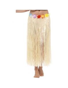 Jupe hawaïenne hula naturel avec fleurs   Accessoires
