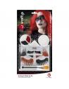 Kit Maquillage Autocollant Arlequin (Peinture visage, faux-cils, bijoux autocollants, applicateur)   Accessoires