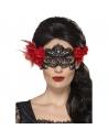 Loup dentelle jour des morts noir avec des roses rouges | Accessoires