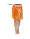 Jupe hawaïenne hula orange fluo avec fleurs | Accessoires