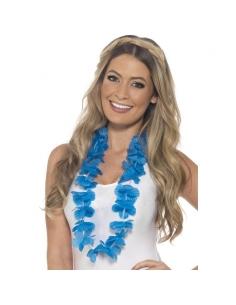 Collier hawaïen bleu fluo   Accessoires