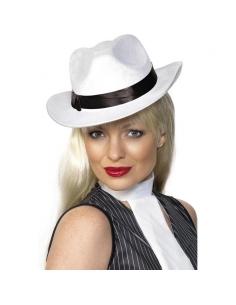 Chapeau gangster velours blanc | Accessoires
