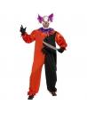 Déguisement clown effrayant rouge et noir, homme (combinaison et masque)