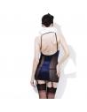 Ensemble lingerie sexy bleu et noir(robe, col, résilles, culotte et serre-tête) | Déguisement