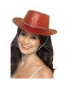 Chapeau cow-boy pailleté rouge plastique adulte | Accessoires