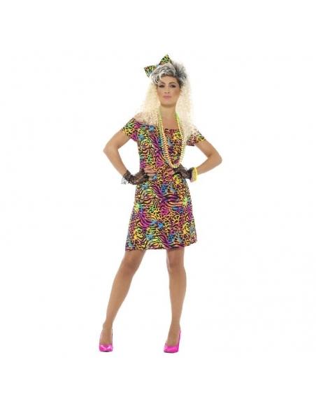 Costume disco robe léopard fluo | Déguisement
