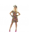 Déguisement années 80' femme (robe léopard fluo et noeud pour les cheveux)