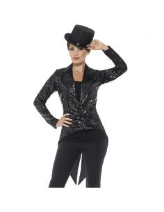 Queue-de-pie à sequins noirs pour femme   Déguisement