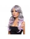 Perruque adulte longue grise et rose | Accessoires