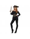 Chemisier style pirate de luxe pour femme, Noir, avec serre-taille à lacets