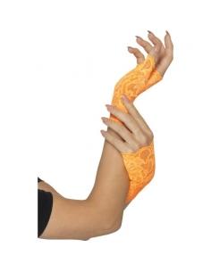 Paire de mitaines en dentelle orange fluo | Accessoires