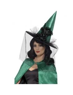 Chapeau de sorcière avec plumes et voiles | Accessoires