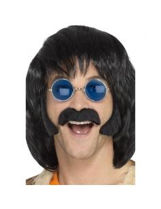 Set hippie noir avec favoris et moustaches | Années 60/70 - Hippie