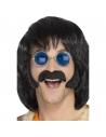 Set hippie noir avec favoris et moustaches   Années 60/70 - Hippie