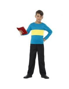 Pull bleu à rayures jaunes enfant | Déguisement Enfant