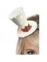 Serre-tête mini haut de forme blanc avec houx | Accessoires