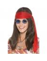 Kit Hippie Femme (perruque cheveux bruns longs, lunettes, pendentif peace, bandeau rouge) | Accessoires