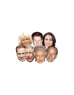 7 masques carton adulte famille royale royaume uni 7 mod. | Accessoires