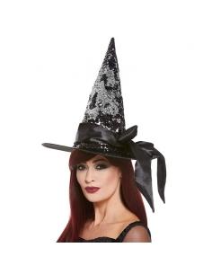 chapeau de sorcière réversible de luxe noir et argent bandeau satin | Accessoires