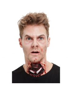 prothèse en latex trachée ouverte rouge avec adhésif | Accessoires