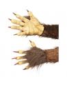 gants de démon marron en latex avec poils | Accessoires