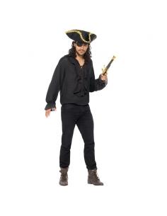 Chemise adulte pirate noir avec lacets | Déguisement