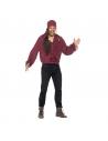 Chemise adulte pirate rouge avec lacets | Déguisement