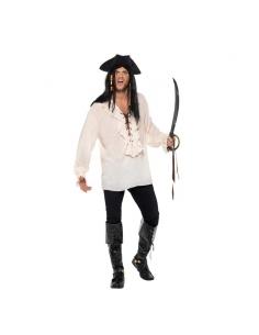 Chemise blanche adulte pirate avec lacets | Déguisement