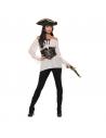 Chemise ivoire femme pirate avec corset noir à lacets | Déguisement