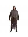 Déguisement Fantôme noir homme (robe longue à capuche imprimée fantômes)