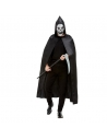 Kit Faucheuse de la mort noir, homme (cape, masque et faux et 100 cm)