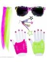 Kit cheveux années 80 femme (2 extensions cheveux neon, boucles d'oreille, gants et lunettes)
