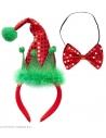 Set de Noël rouge et vert (serre-tête chapeau d'elfe et noeud papillon pailleté)