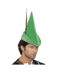 Chapeau robin des bois vert avec plume | Accessoires