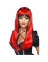 Perruque sorcière longue noir et rouge   Accessoires