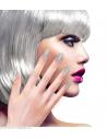 12 faux ongles argent pailleté avec adhésifs