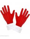Gants de Père/Mère Noël rouge avec poignets en peluche blanc