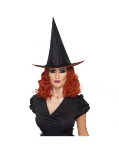 Chapeau sorcière noir avec cheveux rouges | Accessoires