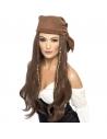 Perruque Pirate femme avec bandana, perles et breloques