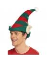 Bonnet de lutin rayé rouge et vert à oreilles   Accessoires