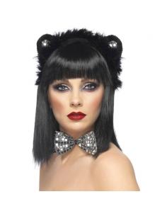 Set chat noir et argent oreilles et noeud papillon | Accessoires