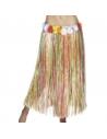 Jupe raphia multicolore avec ceinture fleur | Accessoires