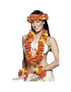 Set hawaïen tissu rouge | Accessoires