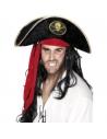 Chapeau pirate noir tête de mort dorée   Accessoires