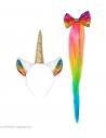 Set Licorne Multicolore Femme (oreilles, queue)