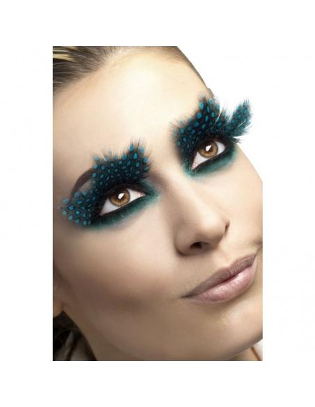 Faux-cils plumes pois turquoise | Accessoires