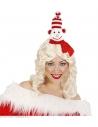 Serre-tête Bonhomme de Neige avec bonnet et écharpe rouge et blanc
