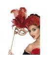 Masque baroque fantaisie rouge à plumes | Accessoires