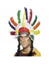 Coiffe indienne plumes multicolores   Accessoires